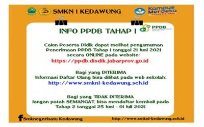 INFORMASI PENERIMAAN PESERTA DIDIK BARU (PPDB) TAHAP I