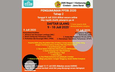 Pengumuman PPDB Tahap II Tahun 2020